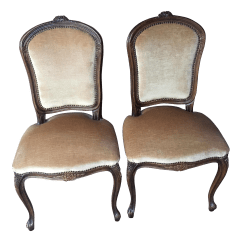 French Velvet Chair Covers For Pets Vintage Accent Chairs A Pair Chairish