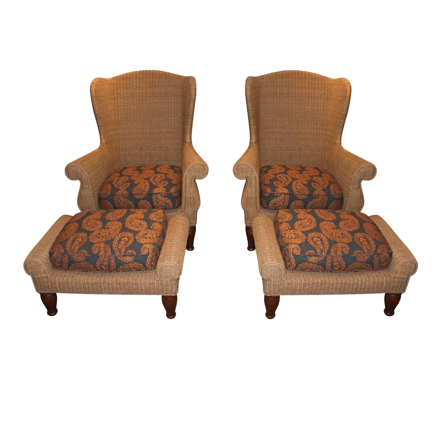 crate and barrel rocking chair reclining a half slipcover wicker arm chairs pair chairish