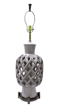 Vintage Mid-Century Ceramic Latticed Table Lamp | Chairish