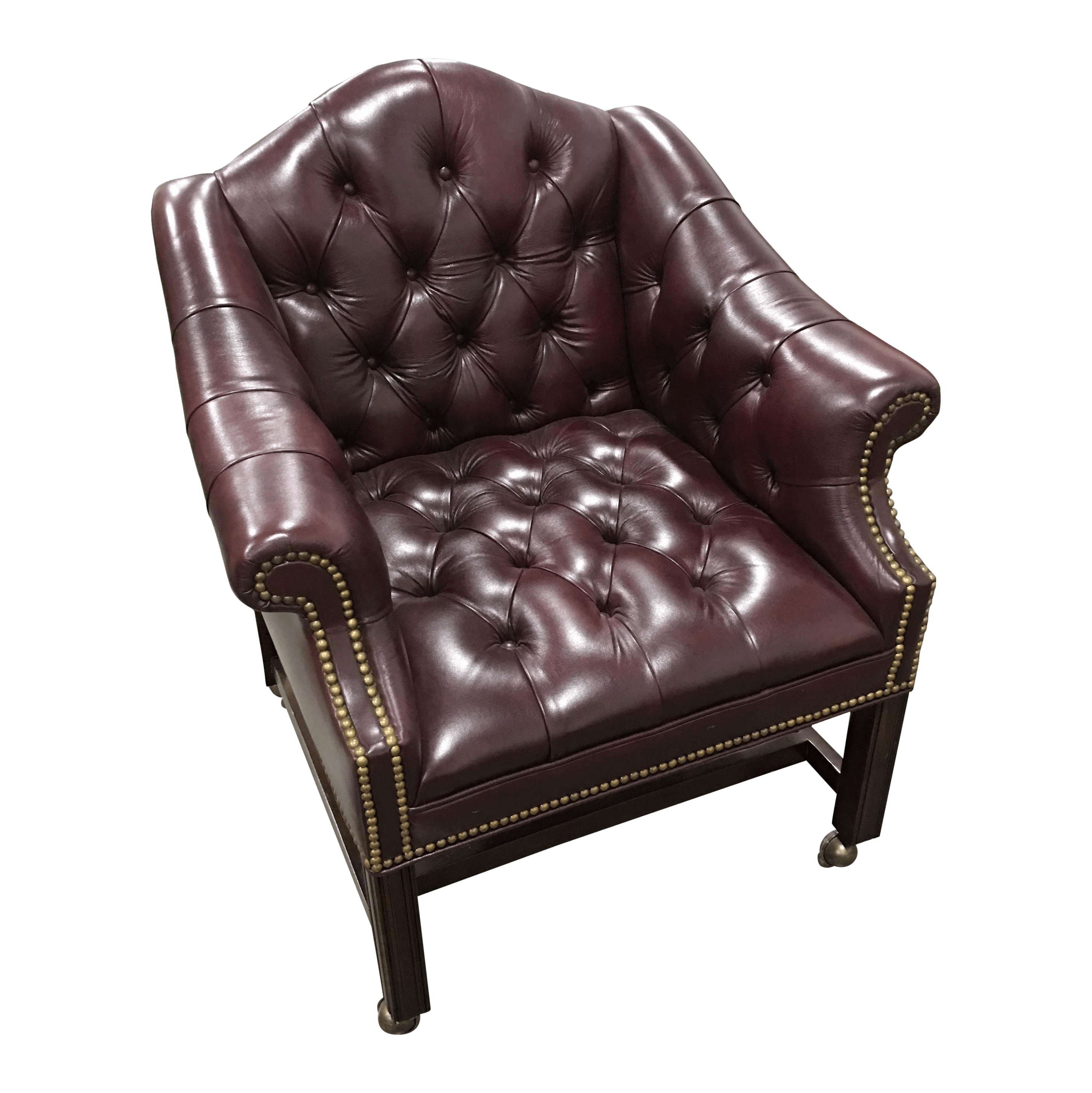 Leathercraft Burgundy Leather Desk Chair on Wheels  Chairish