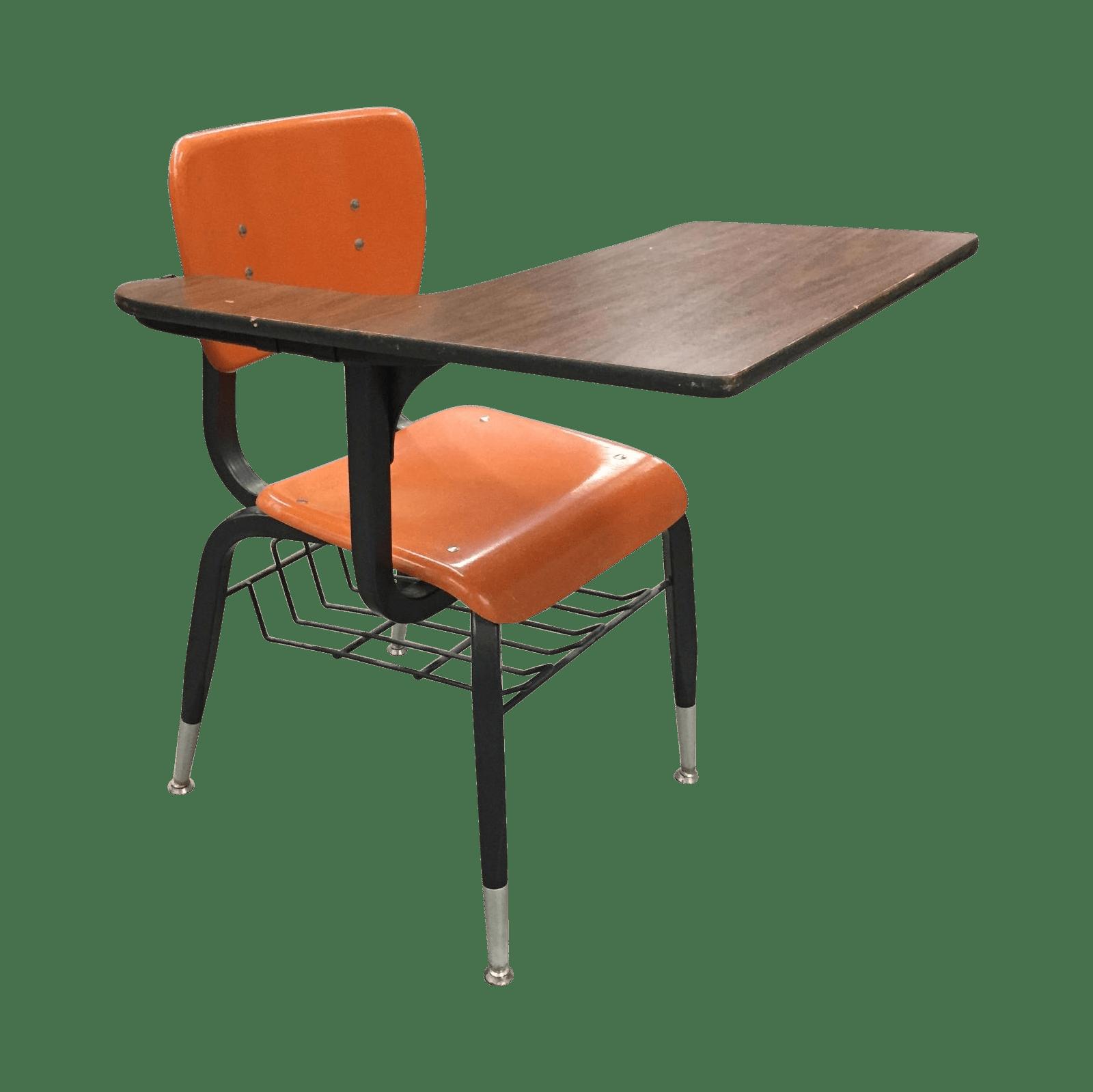 Vintage Orange School Desk Chair  Chairish