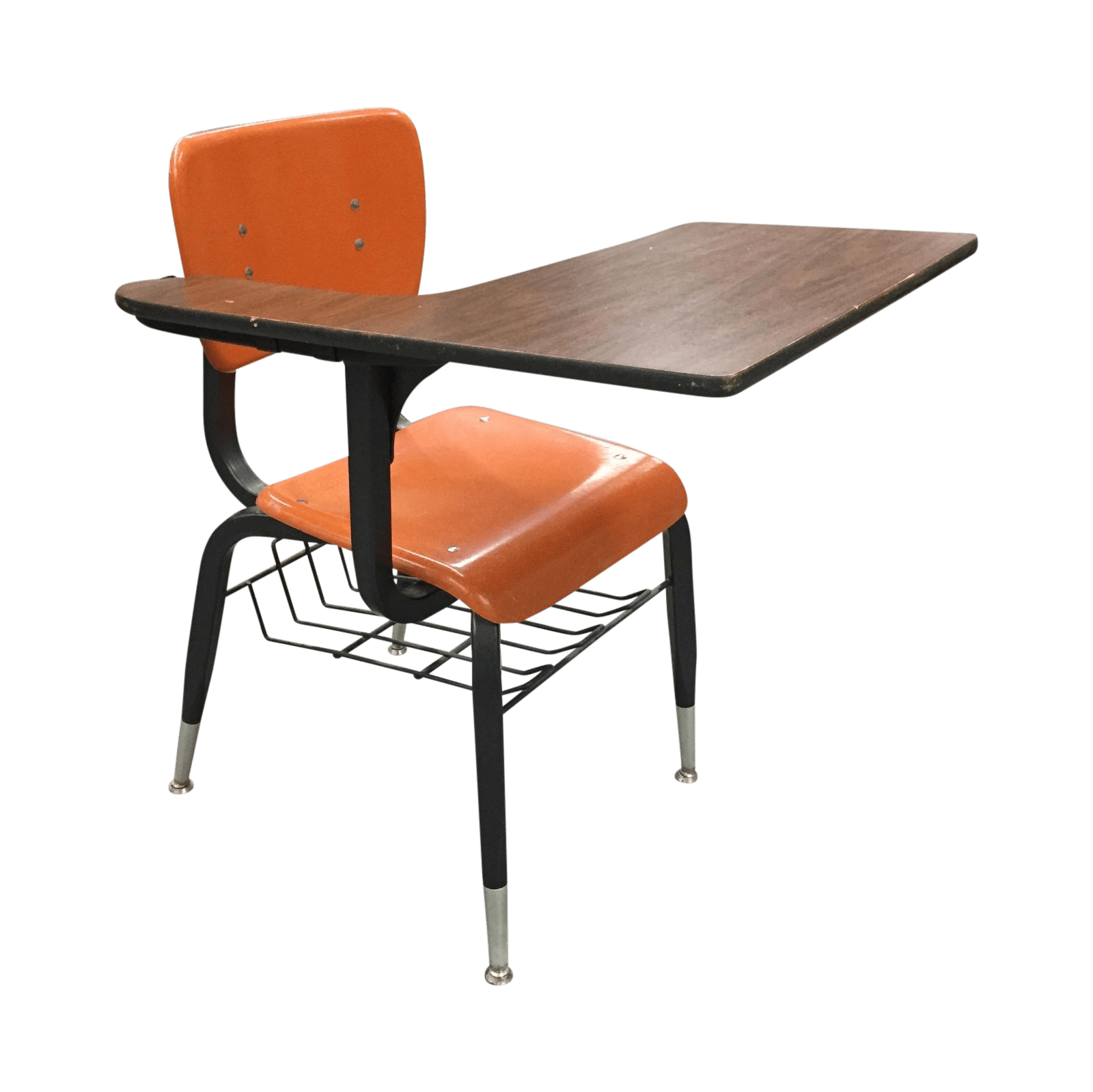 School Desk And Chair Vintage Orange School Desk Chair Chairish