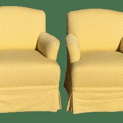 Yellow Club Chair Wood Floor Protector Skirted Chairs A Pair Chairish