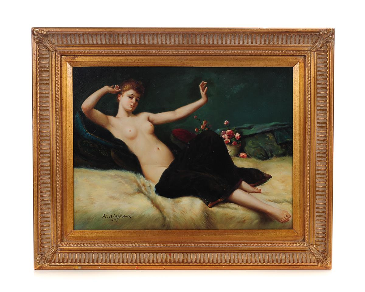 Reclining Female Oil Painting by N Bingham  Chairish