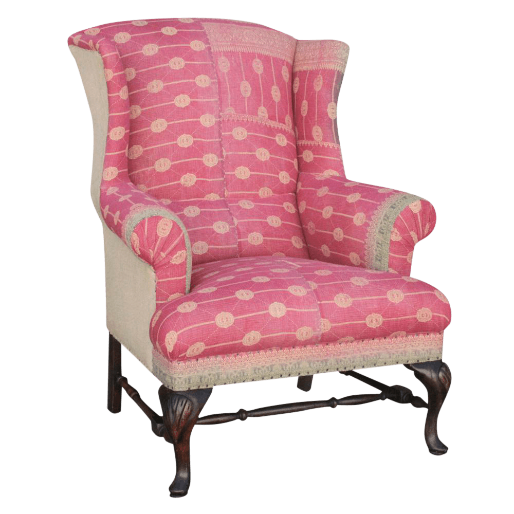 Kantha Reupholstered Wingback Chair  Chairish