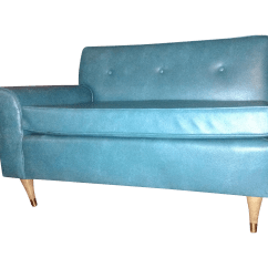 Turquoise Leather Chair And Ottoman Blue Green Vintage Chairish