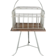 Revolving Chair With Net Rocking Ikea Usa Industrial Magazine Stand Chairish