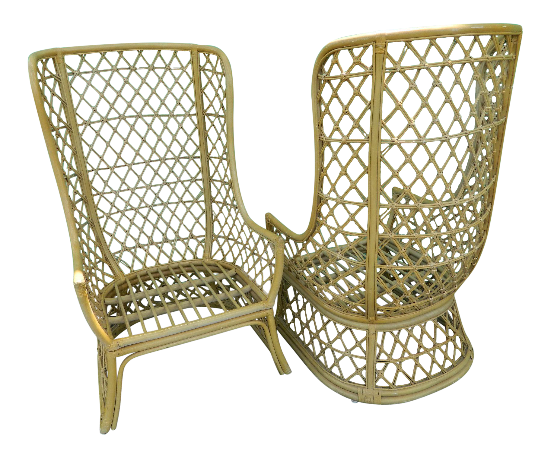 antique high back wicker chairs green dining room vintage rattan boho chic a pair chairish