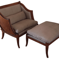 Brown Accent Chair With Ottoman Office You Can Sleep In Neoclassical And Chairish