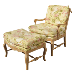 French Provincial Chair And Ottoman Bedroom Big W Country Yellow Floral Accent Chairish