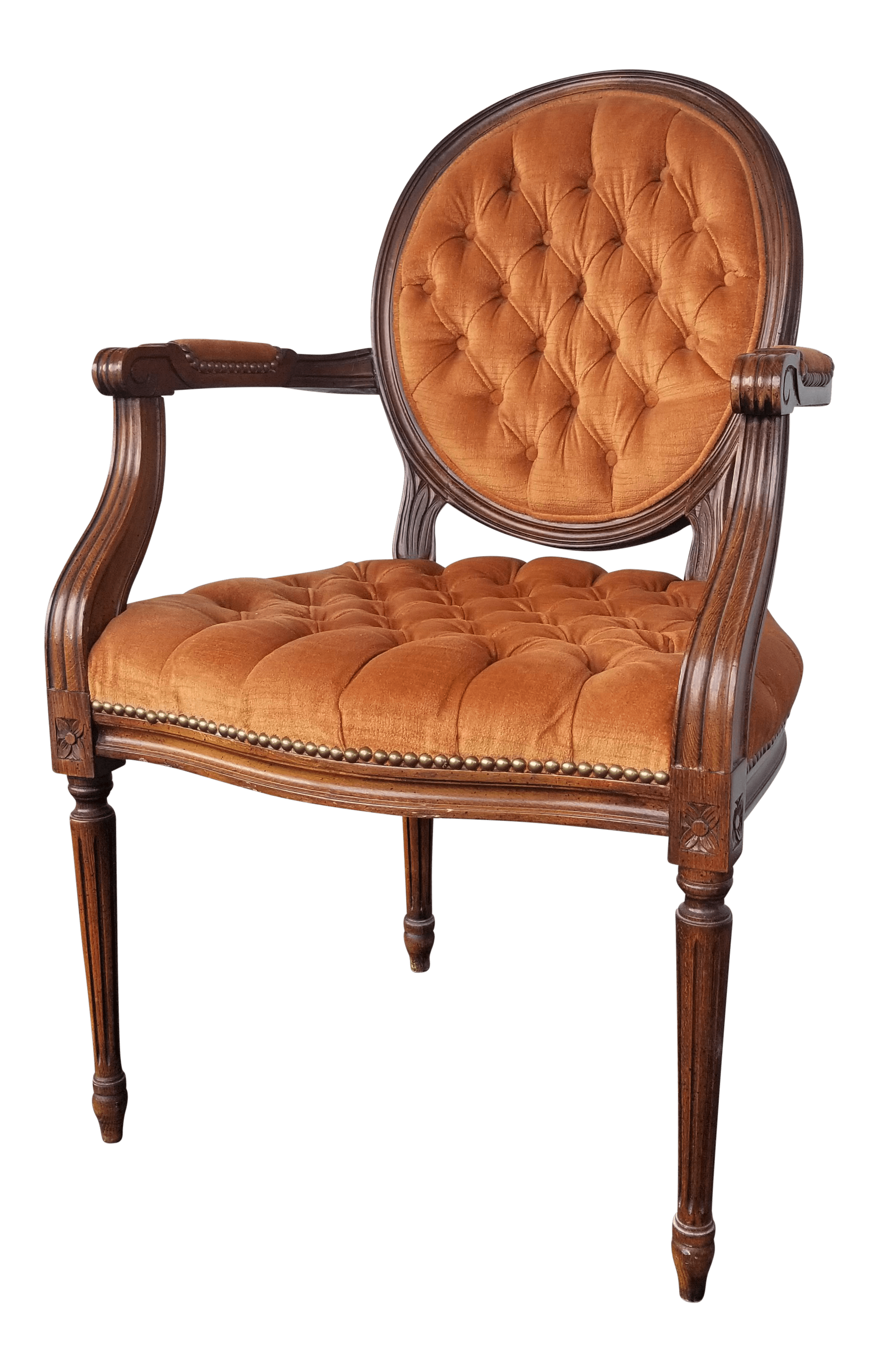 orange side chair cane club antique louis french accent tufted
