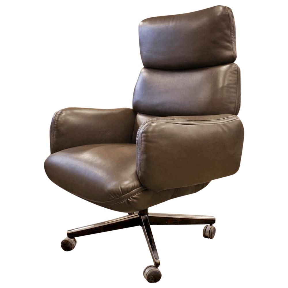Knoll Zapf Vintage Dark Brown Leather Office Chair  Chairish