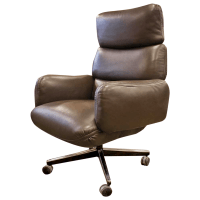 Knoll Zapf Vintage Dark Brown Leather Office Chair | Chairish