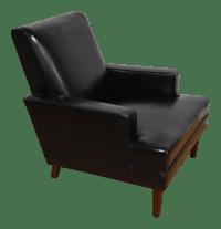 Mid-Century Modern Black Leather Lounge Chair   Chairish