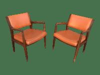 Mid-Century Orange Vinyl & Walnut Chairs - A Pair | Chairish