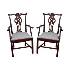 Chippendale Rocking Chair Dining Room Slipcovers Hickory Style Arm Chairs A Pair