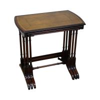 Heritage Vintage Nesting Mahogany Leather Top Tables - Set ...