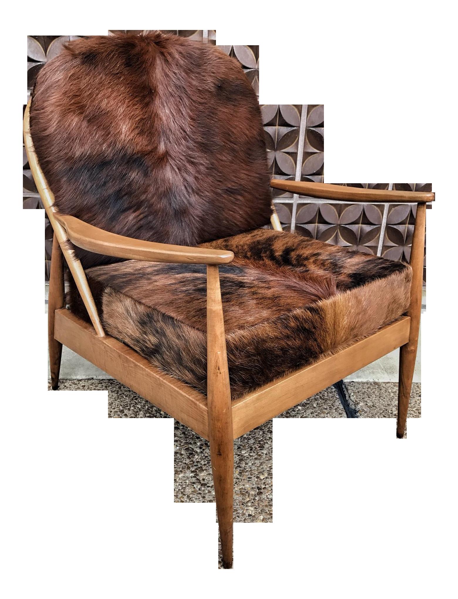 Danish Mid Century Modern Cowhide Chair  Chairish