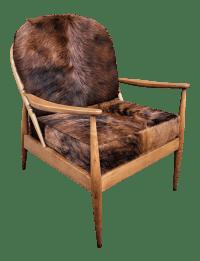 Danish Mid Century Modern Cowhide Chair | Chairish