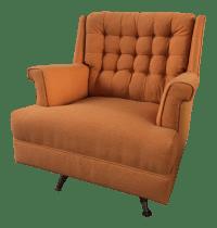 Mid-Century Orange Reupholstered Club Chair | Chairish