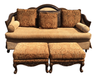 Chenille Sofa & 2 Ottomans | Chairish