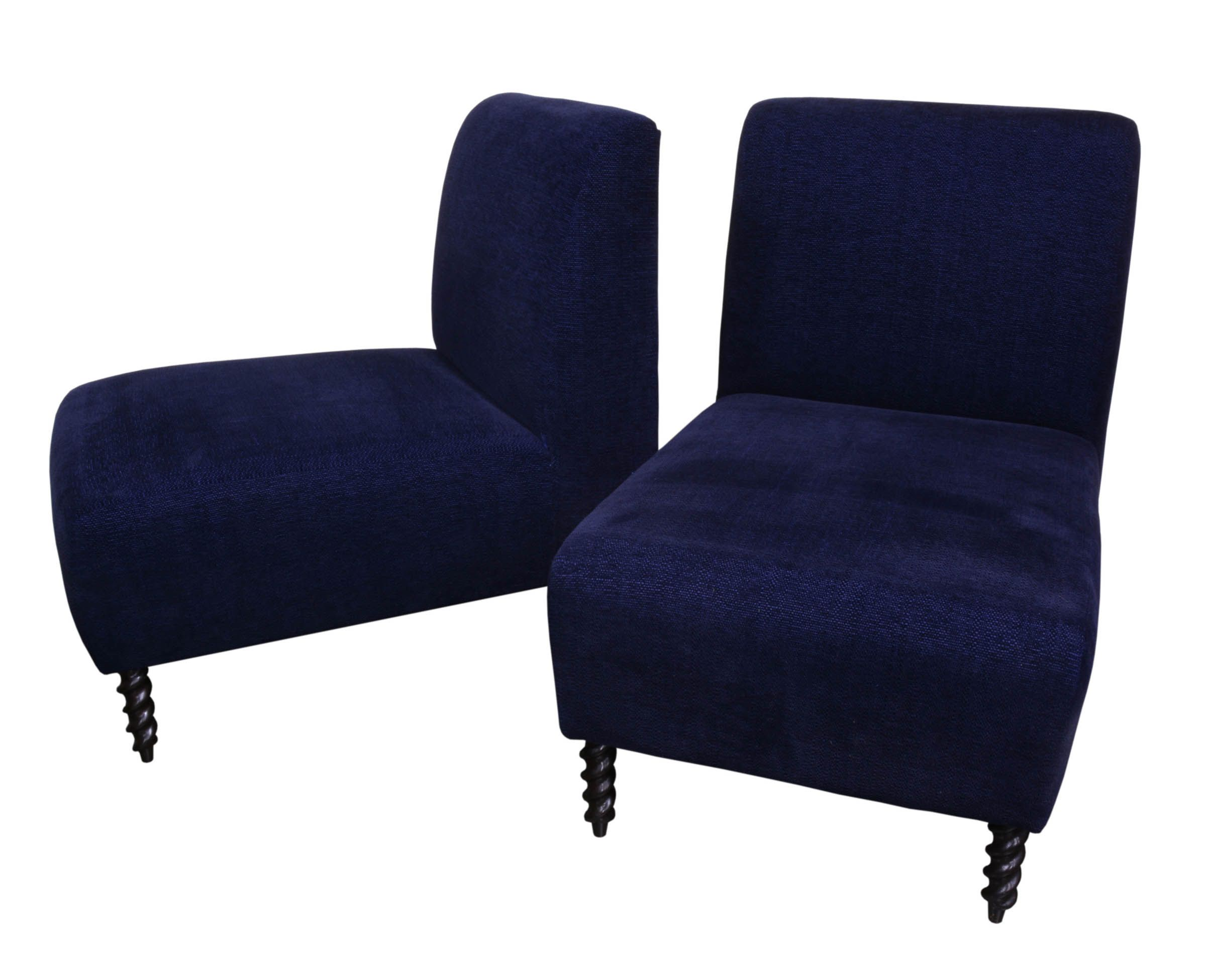 navy blue velvet slipper chair swing interior a pair chairish