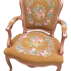 Antique Needlepoint Chair Armless Dining Room Covers Fauteuil Arm Chairish