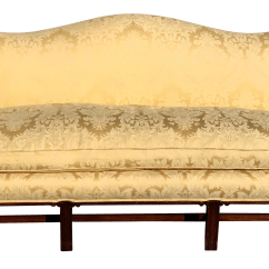 Damask Sofa Bed Orange Fabric Sectional Antique Chippendale Camelback Yellow Chairish