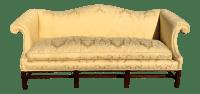 Antique Chippendale Camelback Yellow Damask Sofa | Chairish