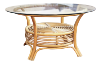 Round Rattan & Bamboo Pencil Reed Glass Top Coffee Table ...
