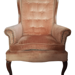 French Velvet Chair Revolving Wooden Coral Wingback Chairish