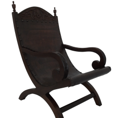 Leather Sling Chairs Chair Stand Assist Butaque Hand Crafted Easy Chairish