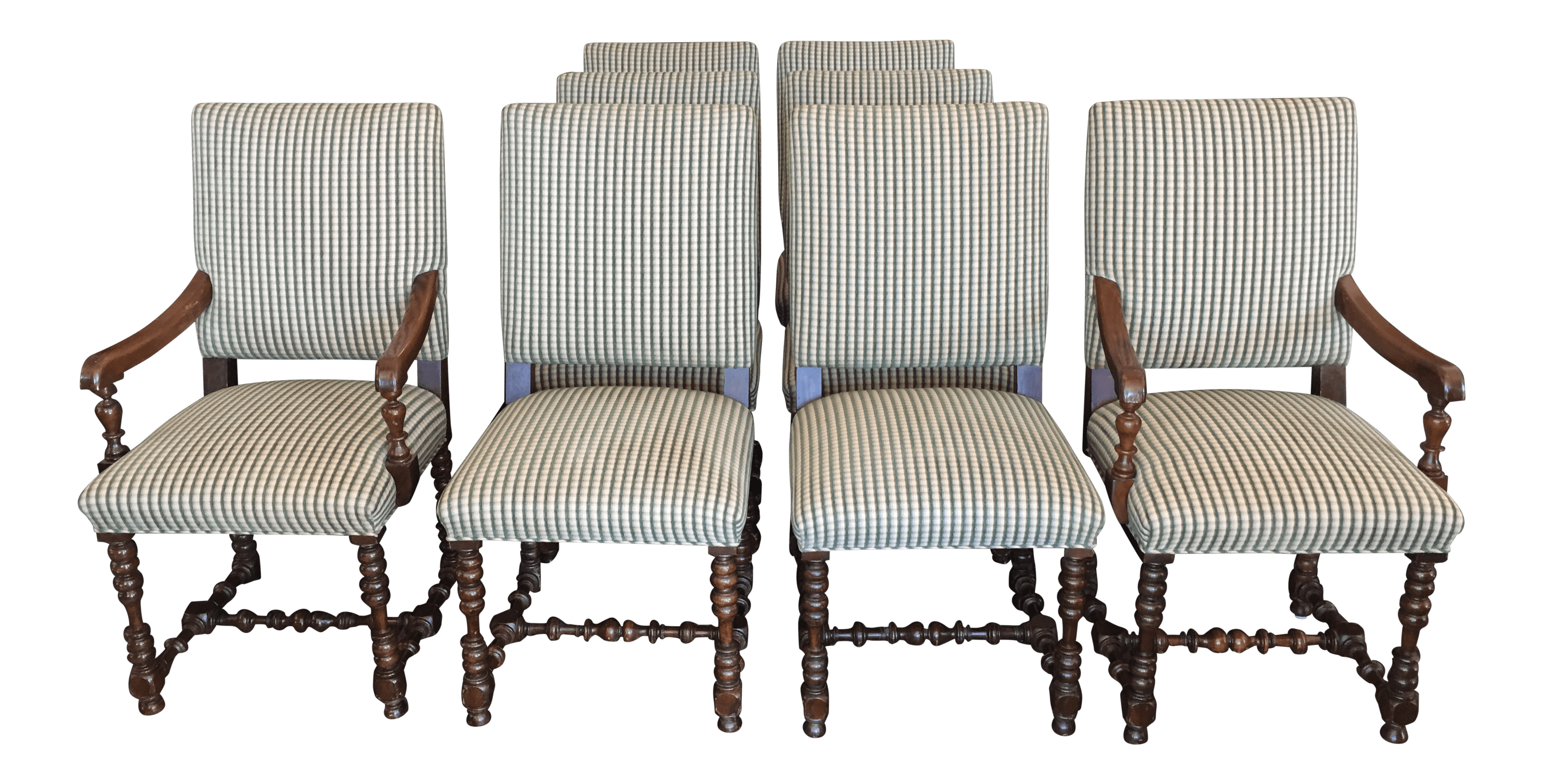 Gingham Chair Custom Gingham Chairs With Turned Legs Set Of 8 Chairish