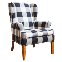 Black & White Buffalo Check Wingback Chair | Chairish