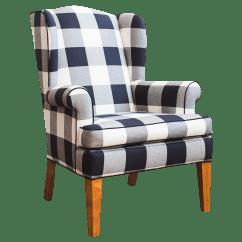 Buffalo Plaid Chair Plastic Hand Black And White Check Wingback Chairish