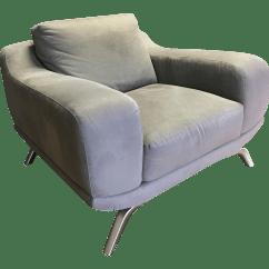 Natuzzi Lounge Chair Heathfield Accessories Olive Green With Chrome Base Chairish
