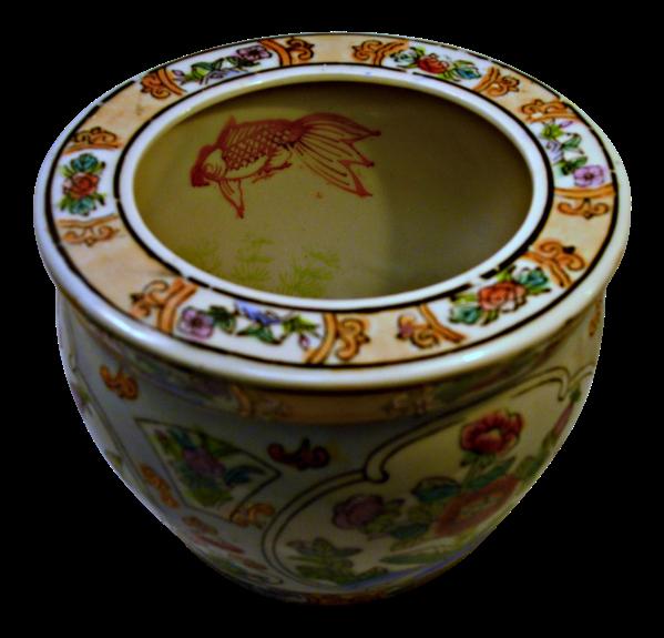 Vintage Chinese Porcelain Fish Bowl Planter