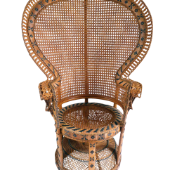 Fan Back Wicker Chair Affordable Patio Lounge Chairs Vintage High Peacock Rattan Chairish