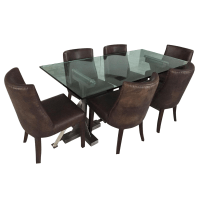 Restoration Hardware Table & Leather Chairs | Chairish