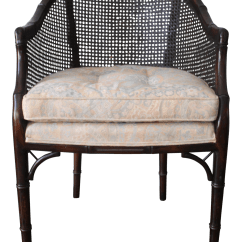 Bamboo Cane Back Chairs Cars Table And Faux Barrel Chair Chairish