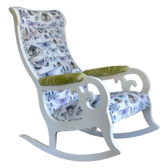 White Upholstered Rocking Chair Kids Reclining Chairs Wood In Antique With