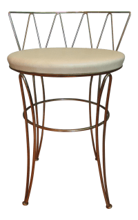 Mid-Century Modern Brass Wire Vanity Stool | Chairish