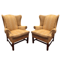 Repurposed Crate & Barrel Wingback Chairs - A Pair | Chairish