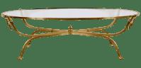 Oval Hollywood Regency Brass Coffee Table | Chairish