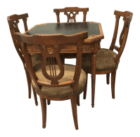 Antique Game Table and Chairs - Set of 5 | Chairish