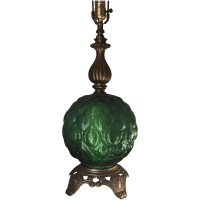 Vintage Green Glass Table Lamp | Chairish