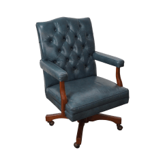 Blue Leather Office Chair Beautiful Cover Hire Oxfordshire Vintage Tufted Executive Desk Chairish