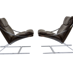 Zeta Desk Chair Cheap Dining Table And Chairs Paul Tuttle 1960s Brown Leather Pair Chairish