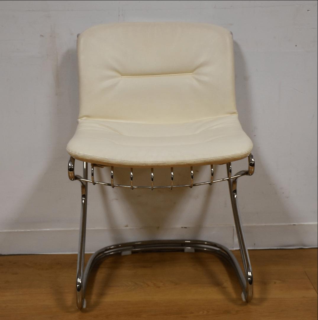 Chrome and White Vinyl Vanity Chair  Chairish