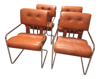 Burnt Orange Tucroma Leather and Chrome Dining Chairs in ...
